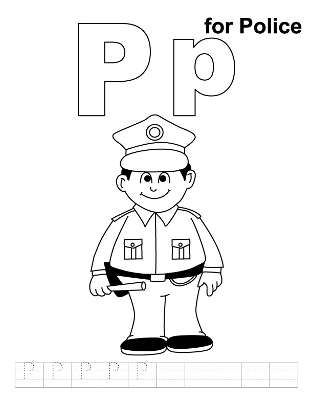 P for police coloring page with handwriting practice