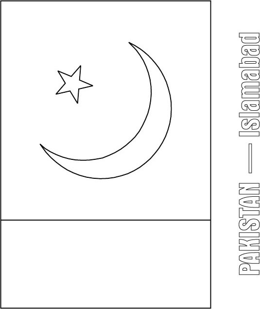 pakistan flag coloring page