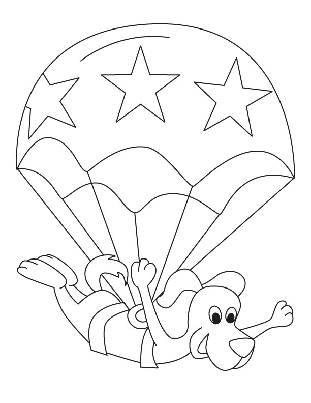 Parachute coloring page
