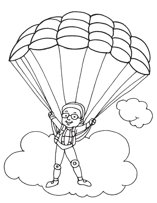 Parachuting coloring page