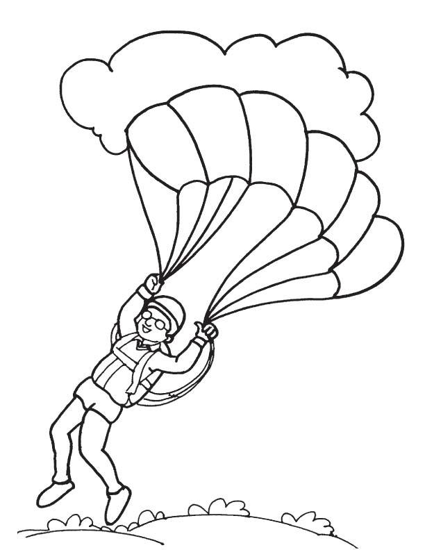 Paratrooper landing coloring page