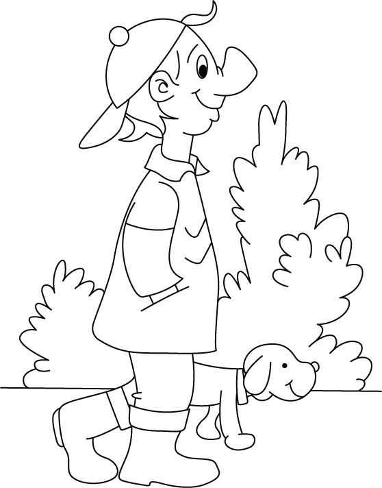 Boy walking with the puppy coloring page