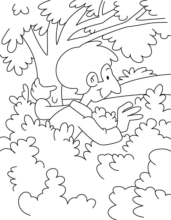 A boy is hiding in the bushes coloring page