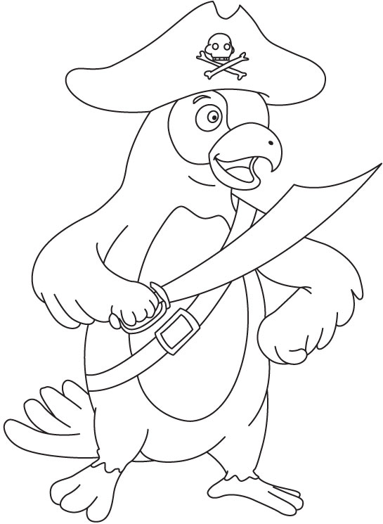 Parrot pirate coloring page