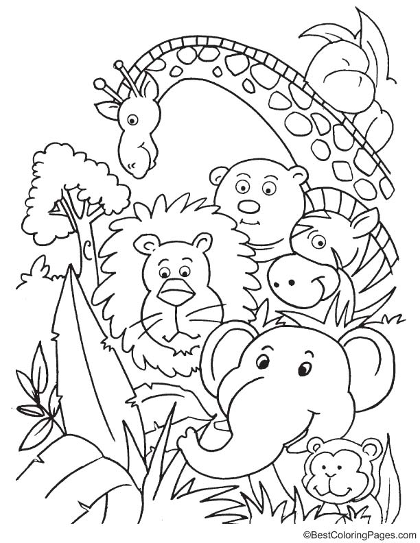 Party in jungle coloring page