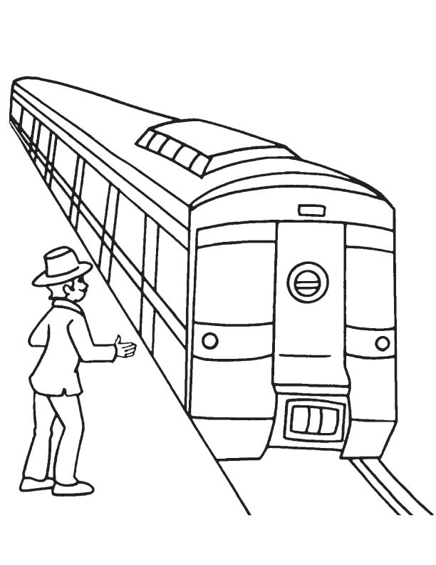 passenger waiting for metro coloring page