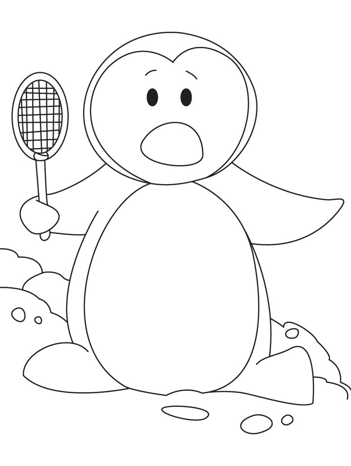 Penguin Playing Badminton Coloring Page