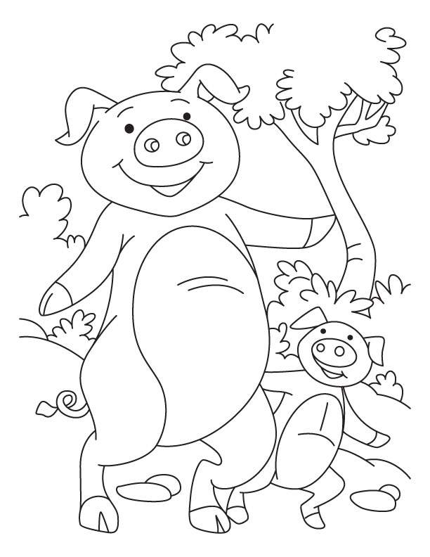Pig with its piglet coloring pages download free pig for Coloring pages of a pig