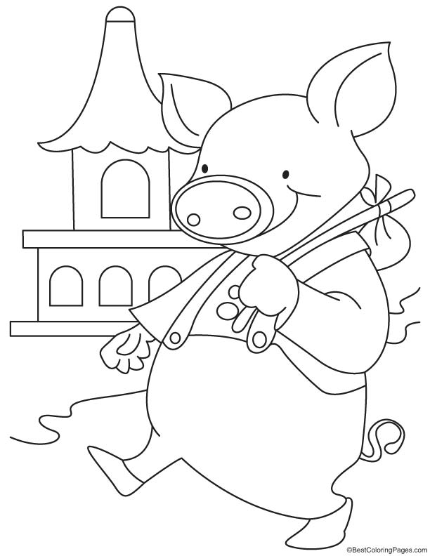 Pig on city tour coloring page