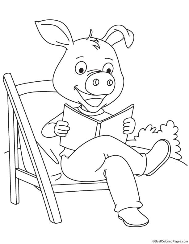 Pig reading the book coloring page