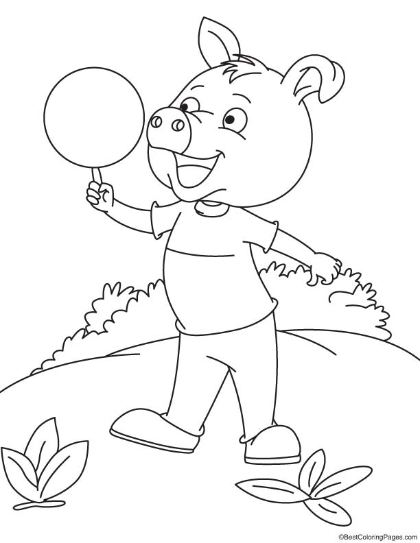 Pig showing circus coloring page