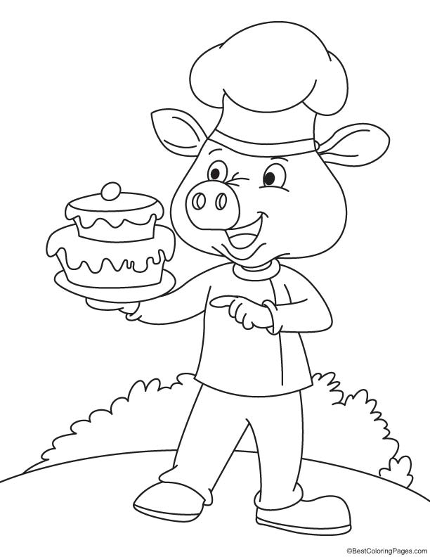 Pig with cake coloring page