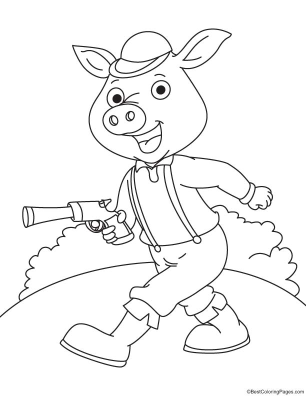 Pig with gun coloring page