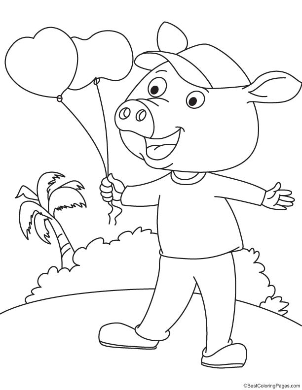 Pig with heart balloon coloring page