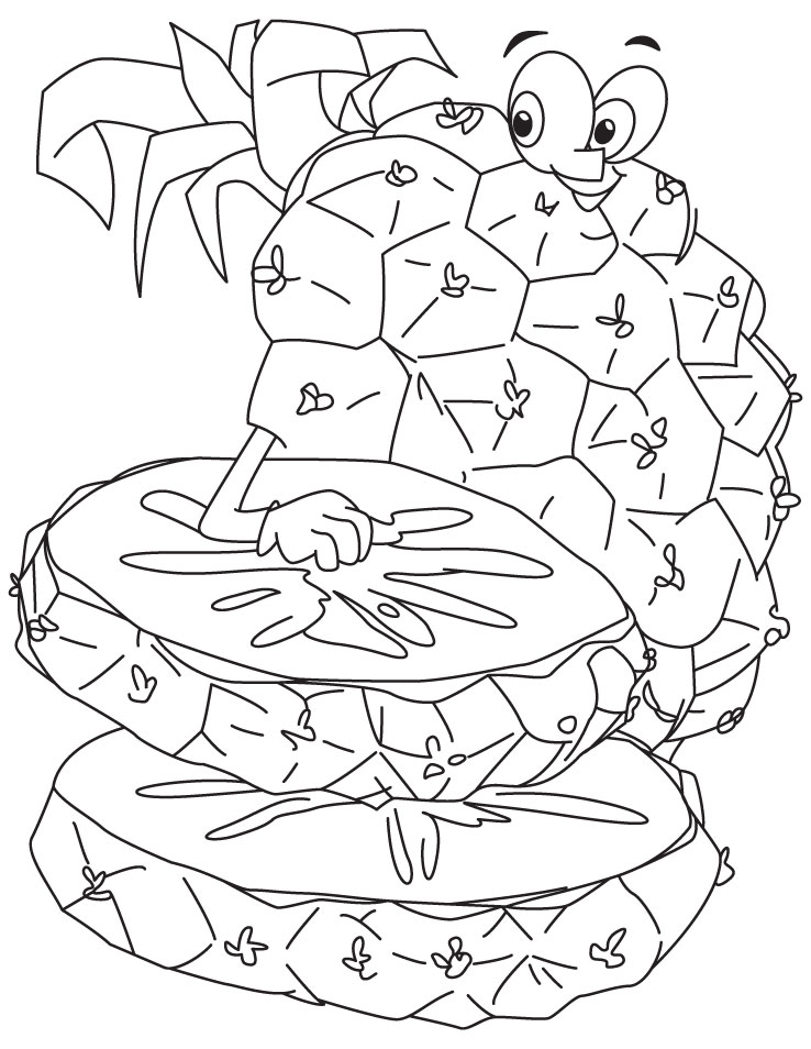 Pineapple with slices coloring pages