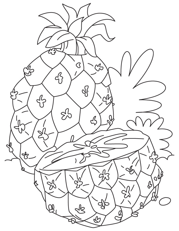 Pineapple and cut in half coloring pages
