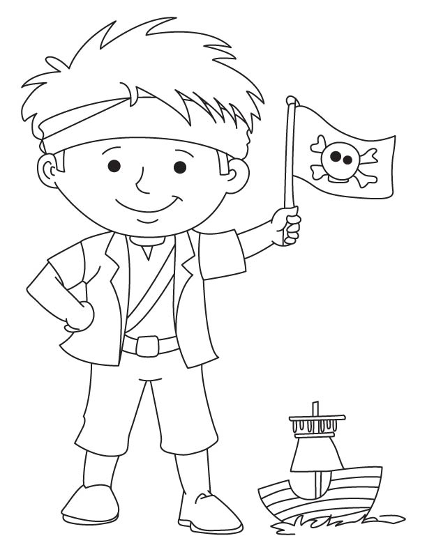 Pirate boy waving flag coloring page