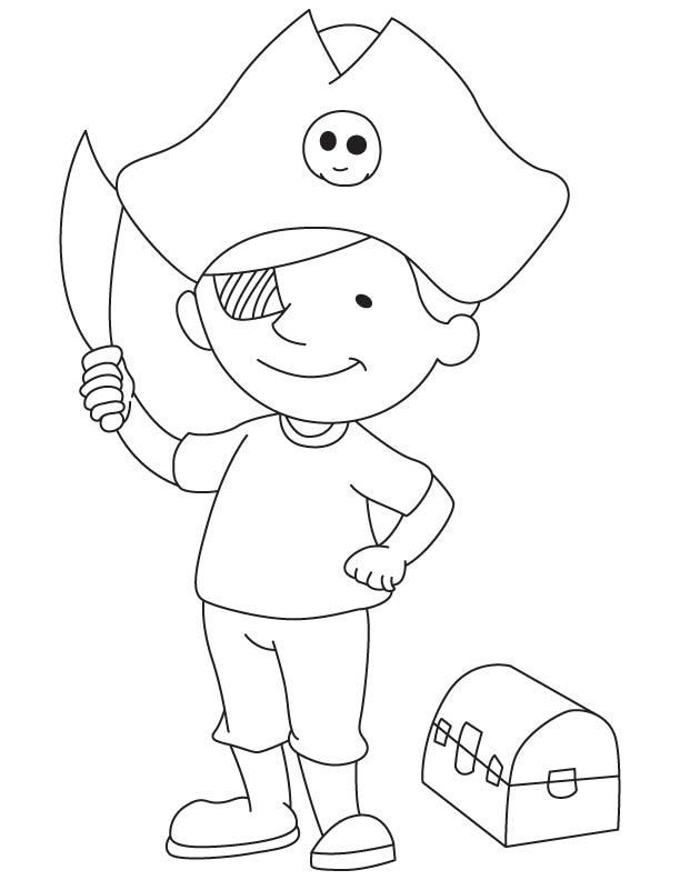 pirate boy with treasure chest  download free pirate boy
