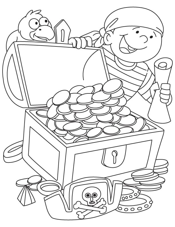 Pirate treasure coloring pages - photo#8