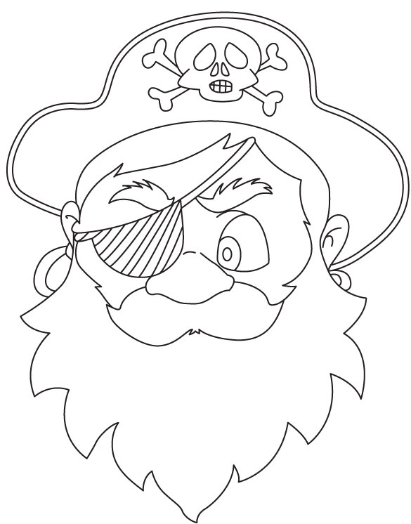 Pirate mask coloring page