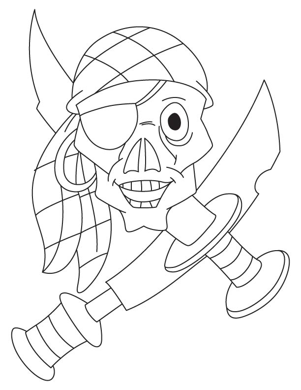 Pirate skull with weapons coloring page