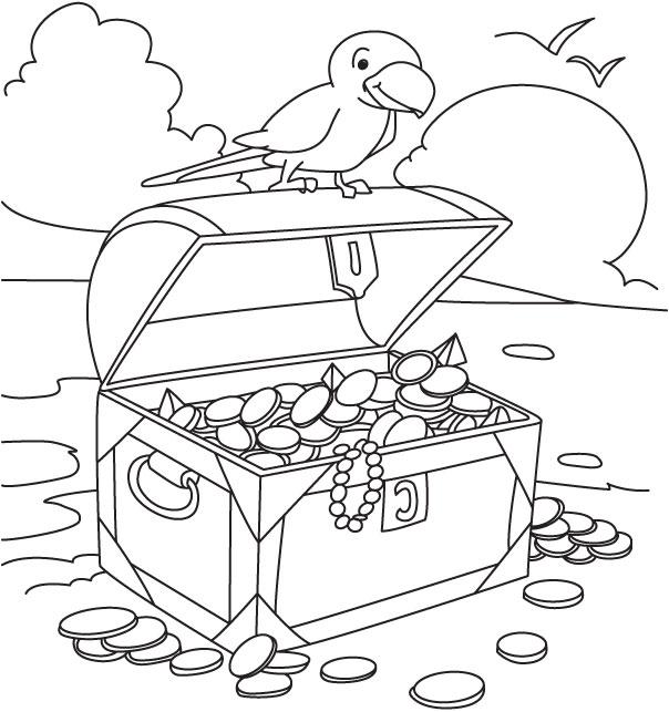 Pirate treasure coloring page