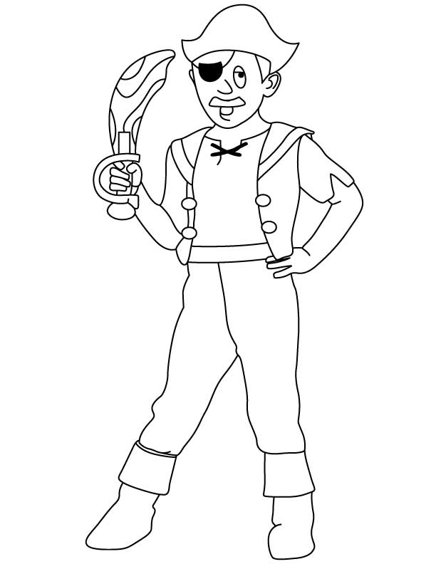 Pirate with knife coloring page