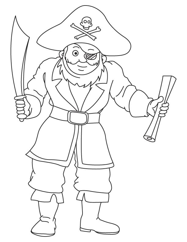 Pirate with map coloring page
