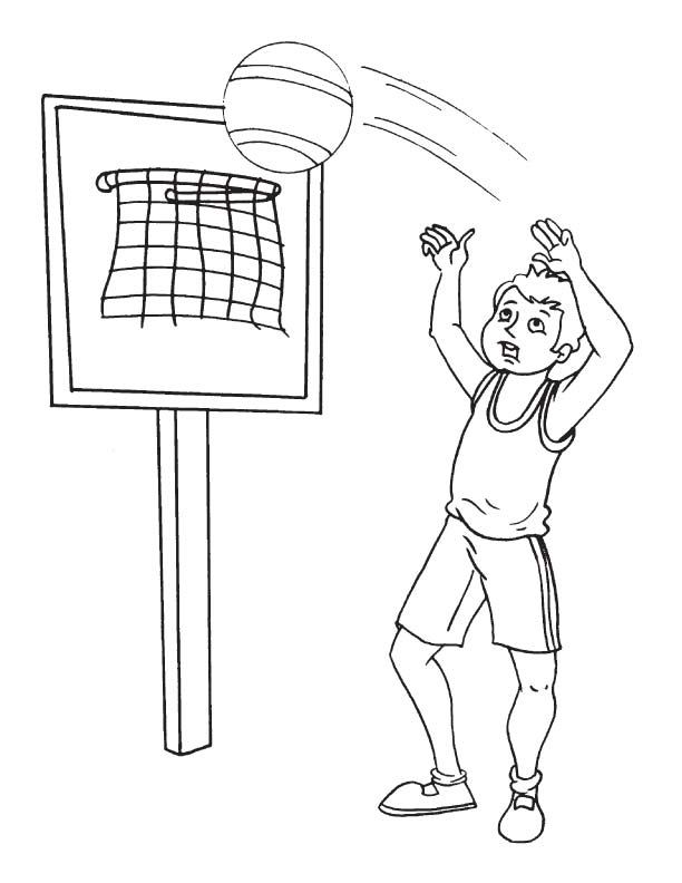 Player goes for a slam dunk coloring page