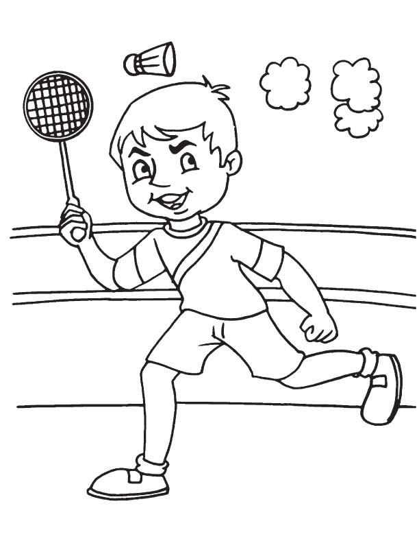 Playing badminton coloring page download free playing for Badminton coloring pages