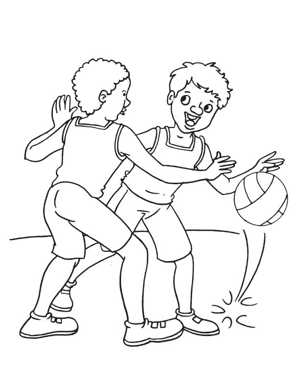 Playing basketball coloring page
