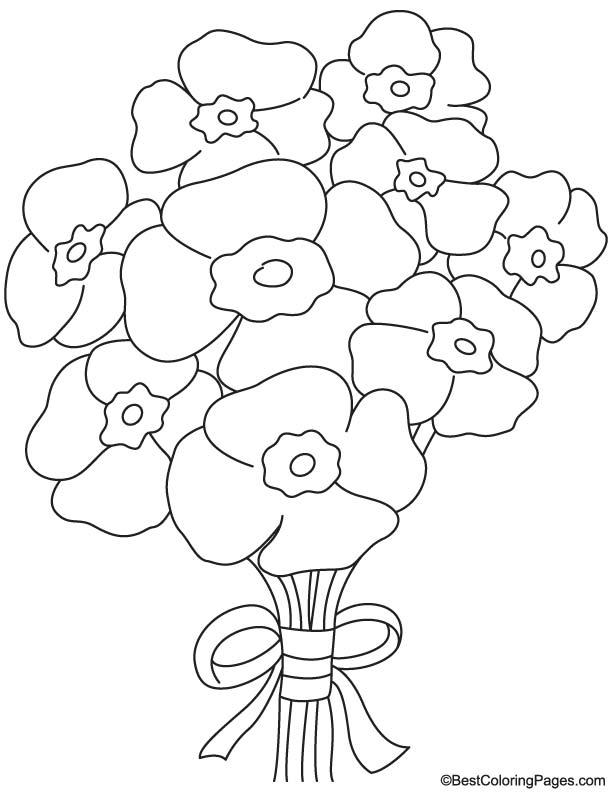 Poppy bouquet coloring page