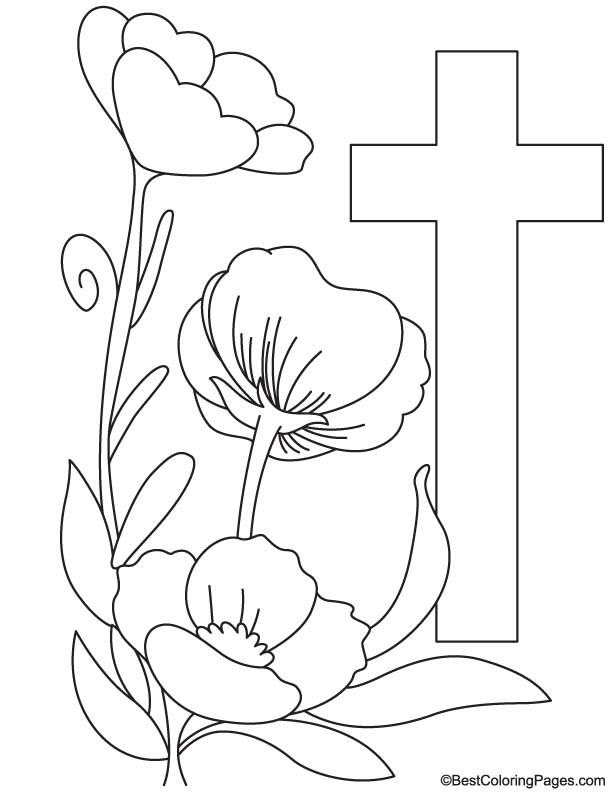 Poppy with cross coloring page