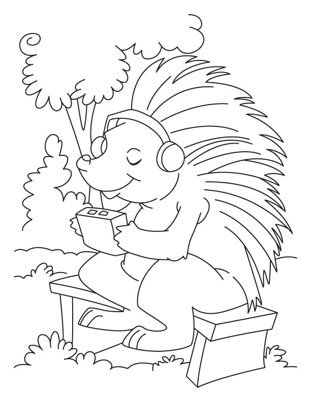 Porcupine listening to music coloring pages Download Free