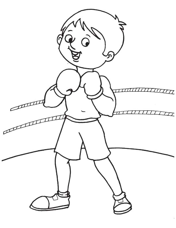 Practice in boxing ring coloring page