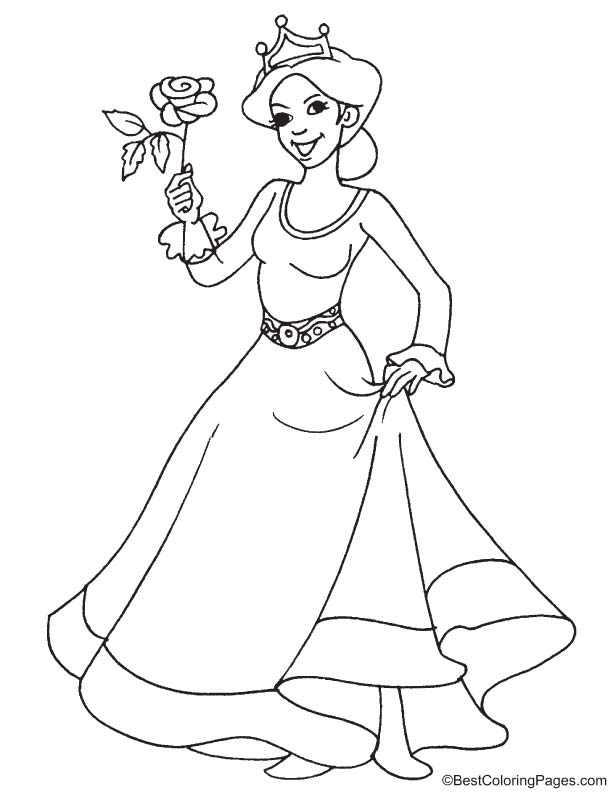 Princess With Rose Coloring Page