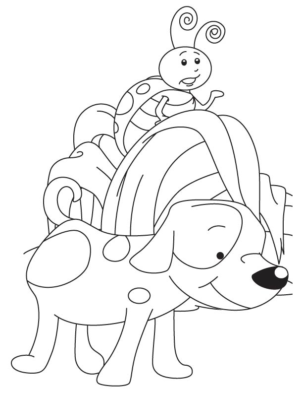 Puppy and ladybug coloring page