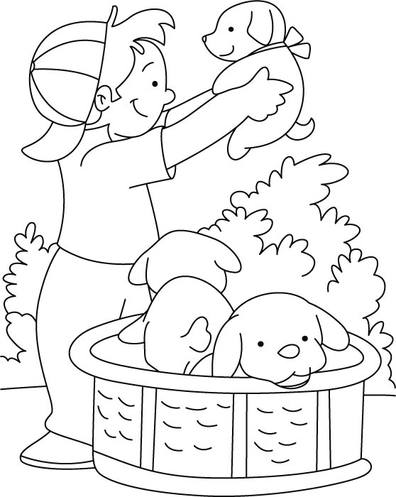 a boy and his dog coloring pages - photo #39