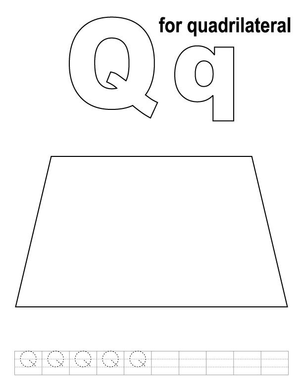 Q for quadrilateral coloring page with handwriting practice