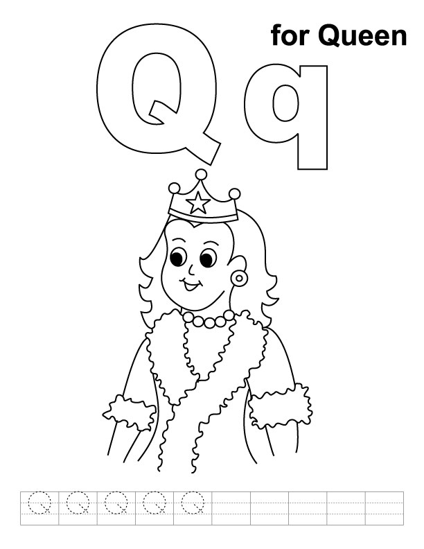 Q Is For Queen Coloring Page Q for queen coloring p...