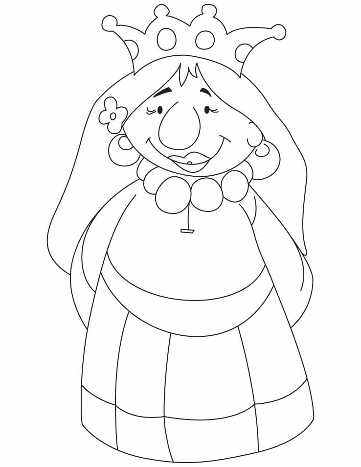 a cartoon queen coloring pages