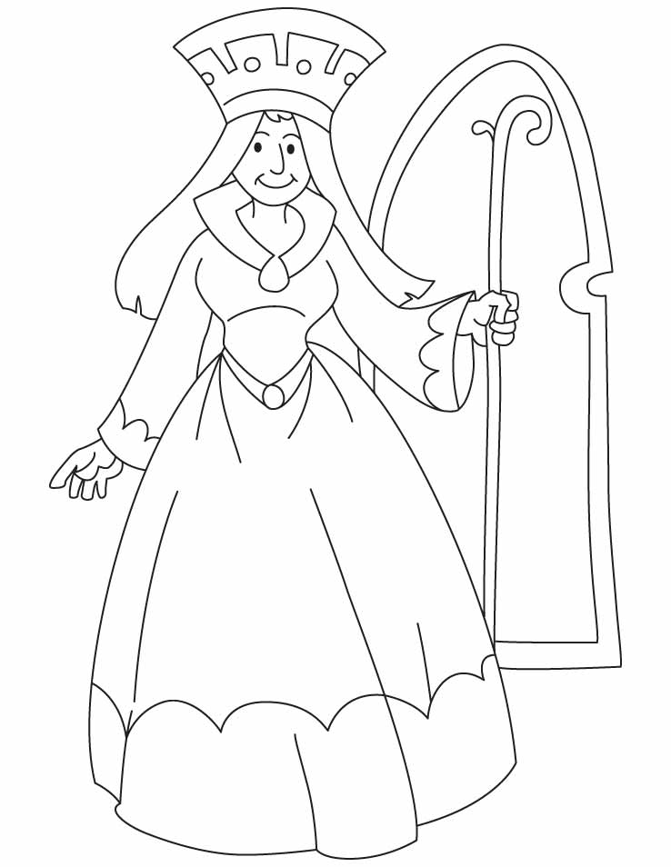 a queen holding a scepter coloring pages