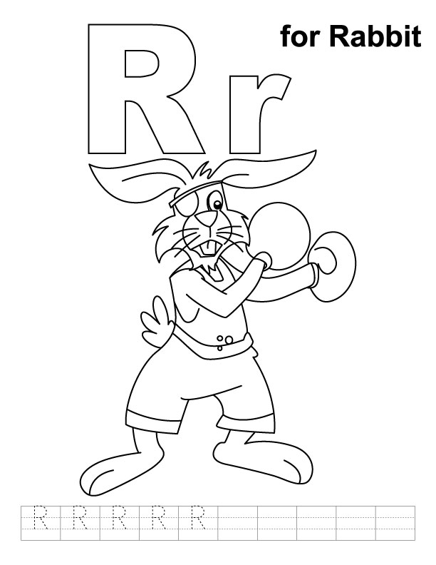 R for rabbit coloring page with handwriting practice