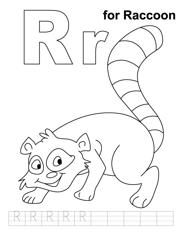 R For Raccoon Coloring Page With Handwriting Practice