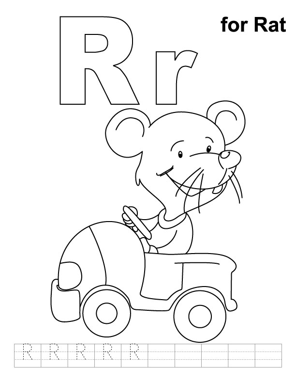 R for rat coloring page with handwriting practice