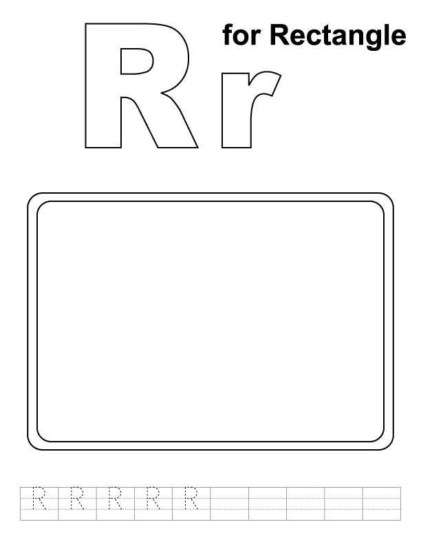 R for rectangle coloring page with handwriting practice