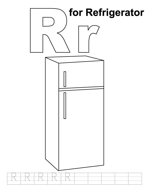 R for refrigerator coloring page with handwriting practice ...