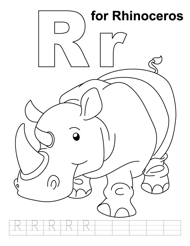 R for rhinoceros coloring page with handwriting practice
