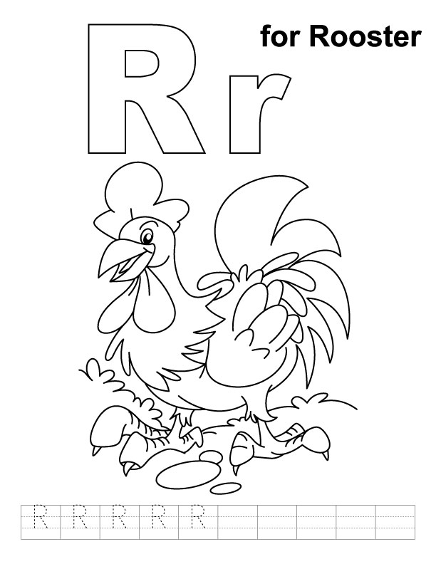 R for rooster coloring page with handwriting practice