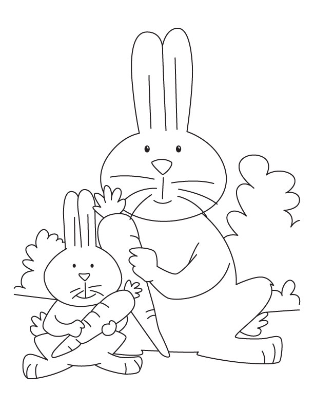 Mother rabbit and kit eating carrot coloring page  Download Free